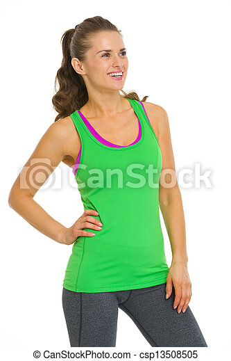 Smiling fitness young woman looking on copy space - csp13508505