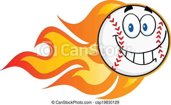 Smiling Flaming Baseball Ball - csp19830129