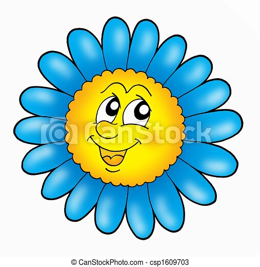 Smiling Flower On White Background Color Illustration