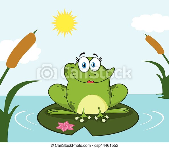 Smiling Frog Female Cartoon Mascot Character Perched On A Pond Lily Pad In Lake - csp44461552
