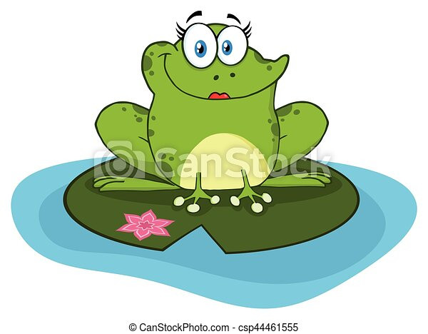 Smiling Frog Female Cartoon Mascot Character In A Pond - csp44461555