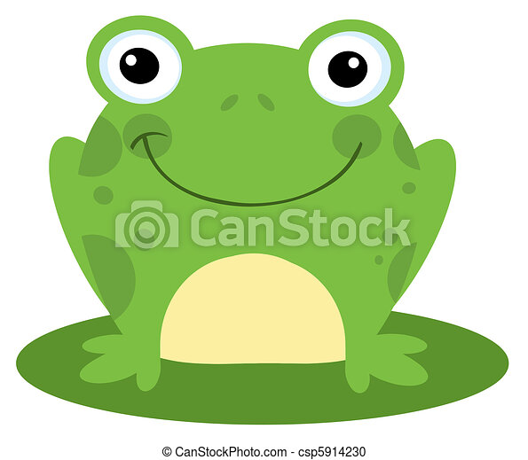 smiling frog on a lily pad csp5914230