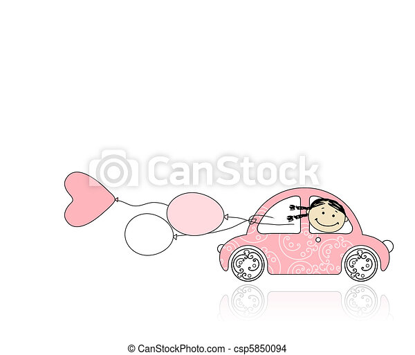 Smiling girl behind wheel pink car for your design - csp5850094