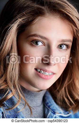 braces Cute teen with
