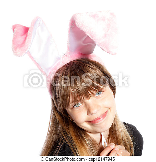 smiling girl with bunny ears - csp12147945