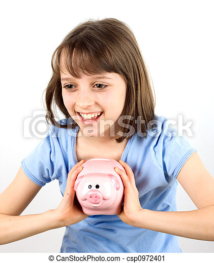 Smiling girl with piggy bank - csp0972401