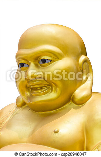 Smiling Golden Buddha Statue in thailand isolated on a white bac - csp20948047