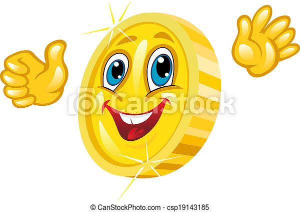 Smiling golden coin - csp19143185