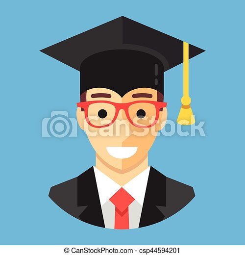 Smiling graduate student wearing mortarboard. Happy man with square academic cap. Graduation concepts. Modern flat design vector illustration - csp44594201