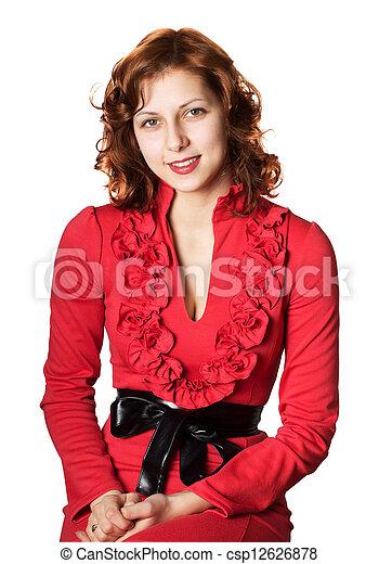 smiling green-eyed woman - csp12626878