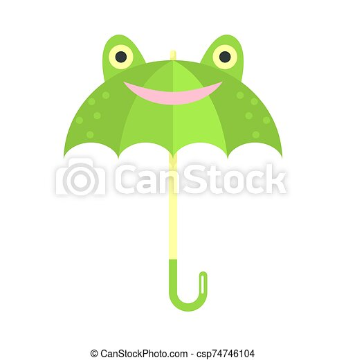 Smiling green umbrella with frog animal face vector illustration - csp74746104