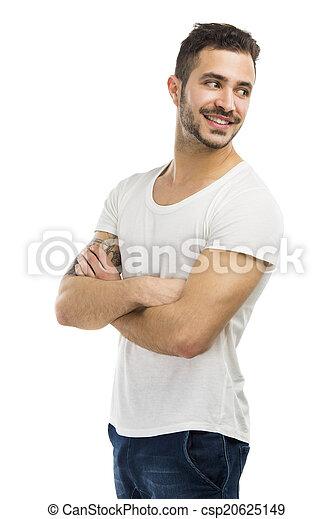 Smiling guy looking over shoulder - csp20625149