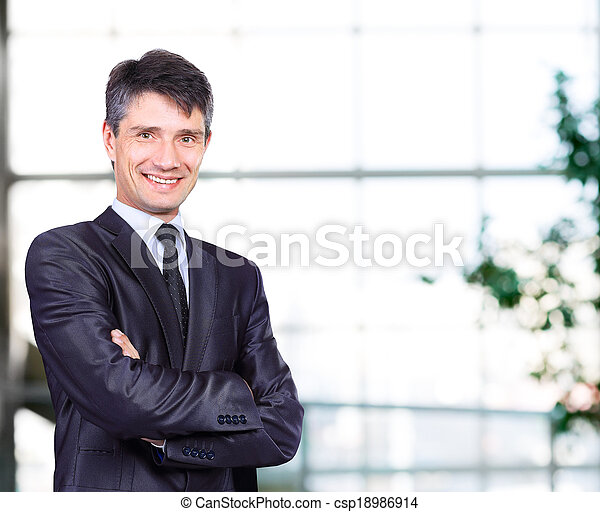 smiling handsome businessman  - csp18986914