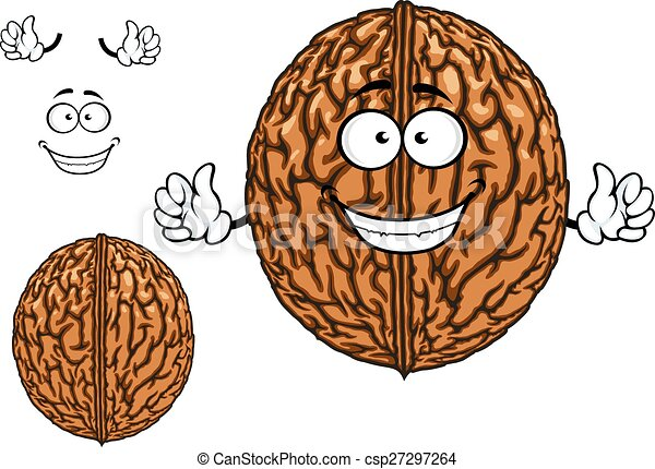 Smiling happy whole walnut character - csp27297264