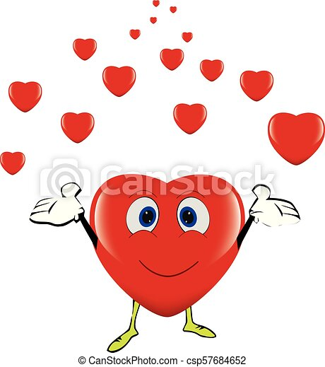 smiling heart full of happiness throws small hearts