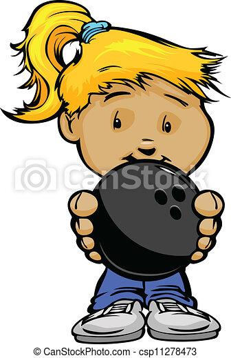Smiling Kid holding Bowling Ball Vector Cartoon Illustration - csp11278473
