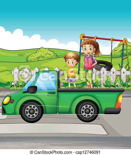 Smiling kids and a truck - csp12746091