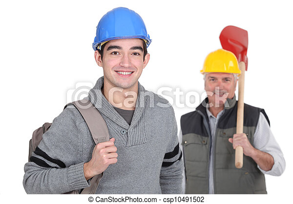 Smiling laborer with foreman on white background - csp10491502