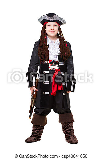 Smiling little boy dressed as pirate - csp40641650