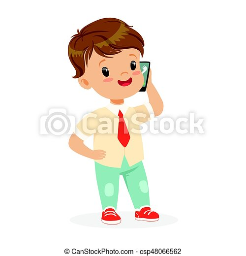 smiling little boy standing and talking on smartphone child clip rh canstockphoto ca clipart little boy and girl clipart little drummer boy