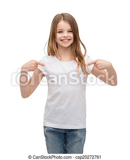 smiling little girl in blank white t-shirt - csp20272761