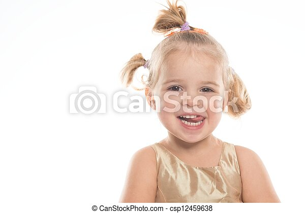 Smiling little girl isolated on white - csp12459638