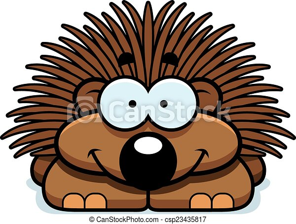 smiling little porcupine a cartoon illustration of a little rh canstockphoto com tree porcupine clipart porcupine clipart black and white