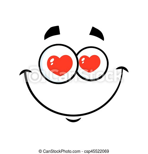 Smiling Love Cartoon Funny Face With Hearts Eyes Expression