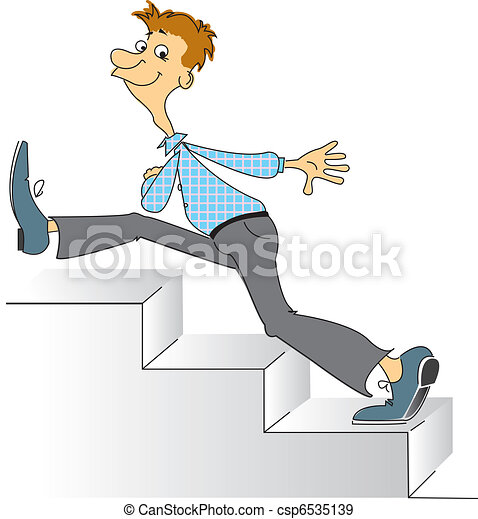 Smiling man going upstairs. Comic vector image - csp6535139