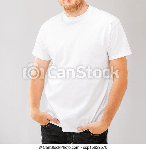 smiling man in blank white t-shirt - csp15629578