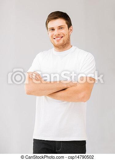 smiling man in blank white t-shirt - csp14790502