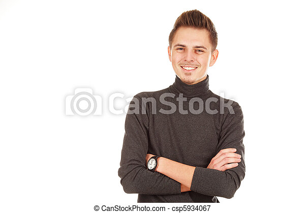 smiling man on a white background - csp5934067