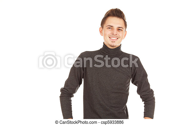 smiling man on a white background - csp5933886