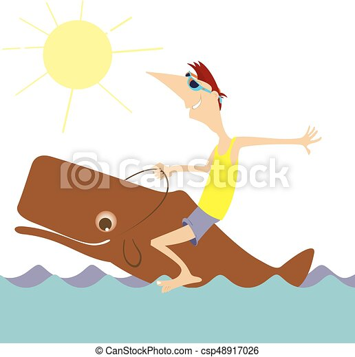 Smiling man rides on the whale isolated - csp48917026