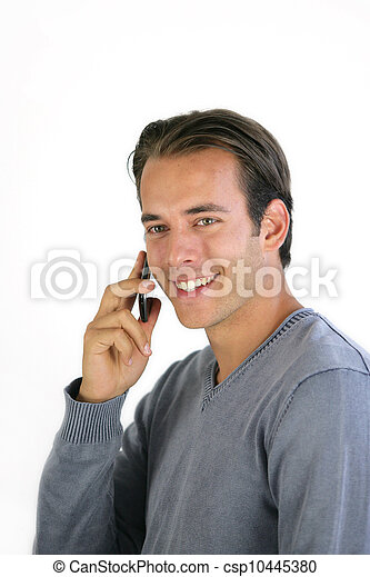 Smiling man talking on his mobile phone - csp10445380