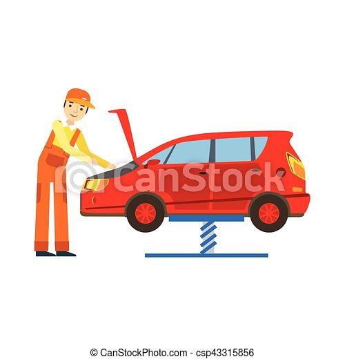smiling mechanic looking at engine in the garage car repair rh canstockphoto com  car repair shop clipart