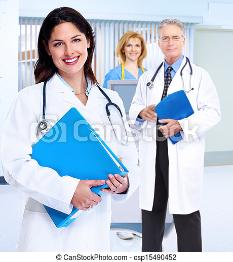 Smiling medical doctor woman with stethoscope. - csp15490452