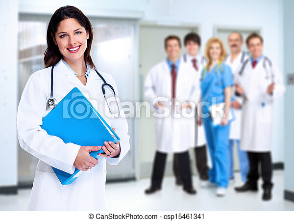 Smiling medical doctor woman with stethoscope. - csp15461341