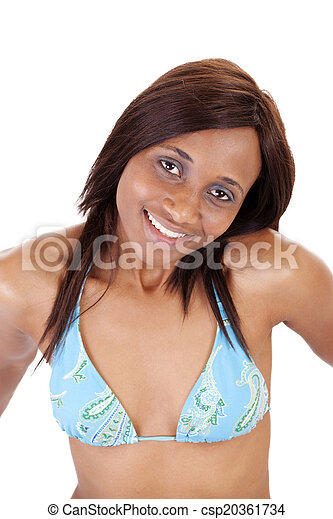Smiling Mixed Black Woman Blue Bikini Top - csp20361734