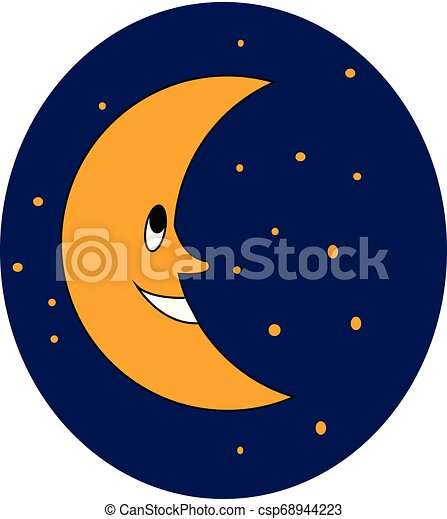 Smiling moon vector or color illustration - csp68944223