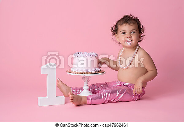 Amazing Smiling One Year Old Baby Girl With Birthday Cake A Happy One Funny Birthday Cards Online Alyptdamsfinfo