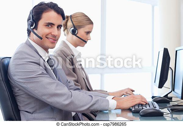 Smiling operators using a computer - csp7986265