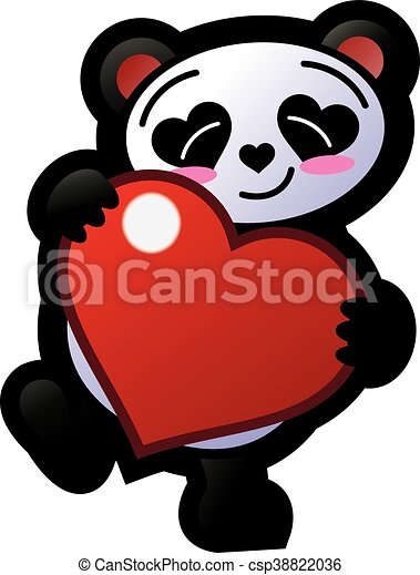 Smiling panda holding a heart. An illustration of a ...