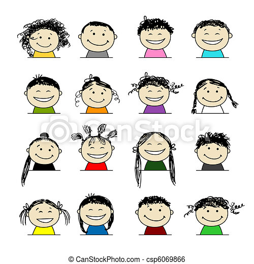 Smiling people icons for your design - csp6069866
