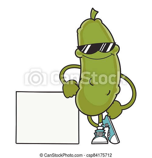 smiling pickle cartoon with sunglasses - csp84175712