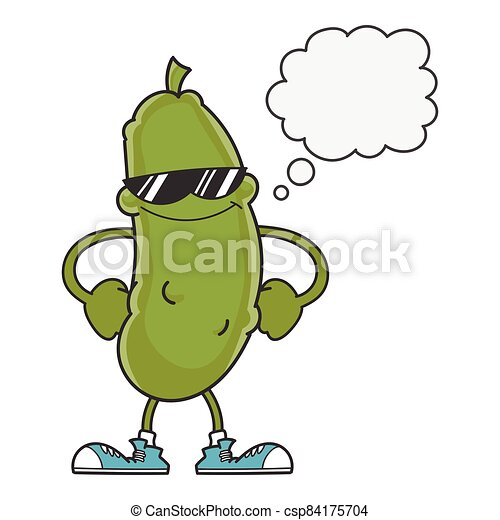 smiling pickle cartoon with sunglasses - csp84175704