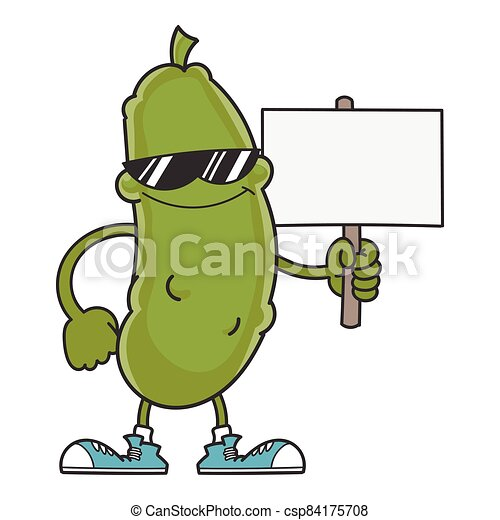 smiling pickle cartoon with sunglasses - csp84175708