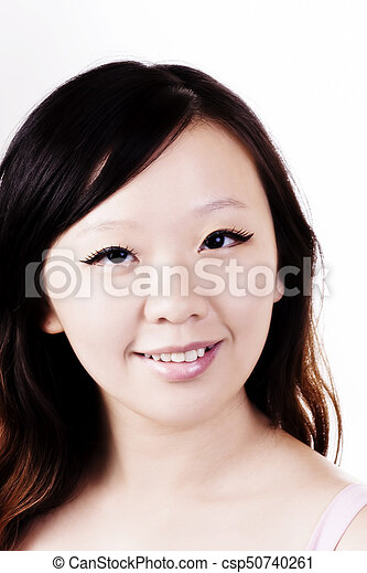 Smiling Portrait Chinese American Woman White Background - csp50740261