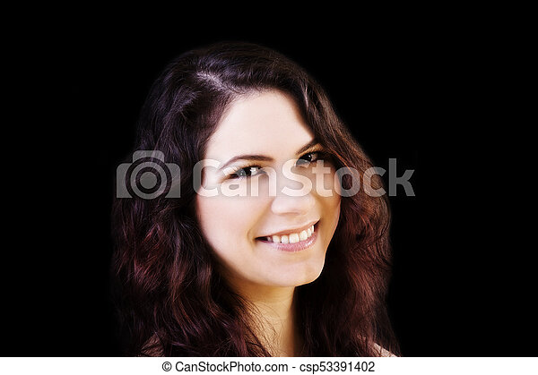 Smiling Portrait Young Caucasian Woman On Dark Background - csp53391402