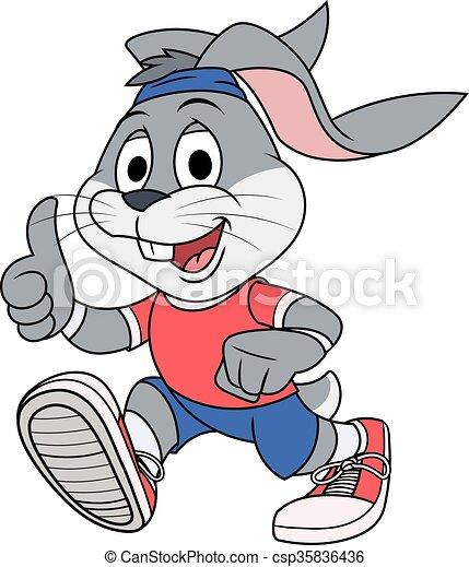 Smiling rabbit jogging - csp35836436